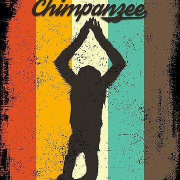 Chimpanzee  Retro 70s Vintage Monkey Lover Gift by cgocgy