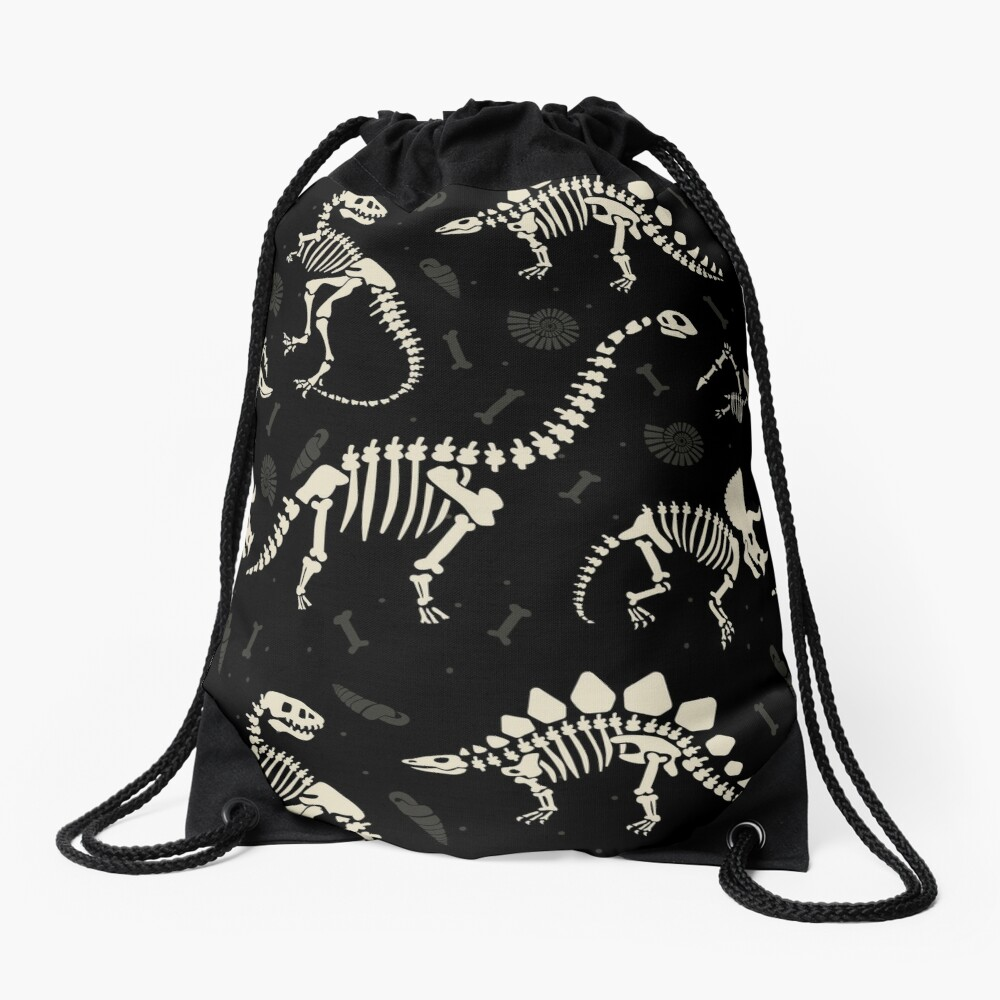 Dinosaur Fossils in Black Drawstring Bag