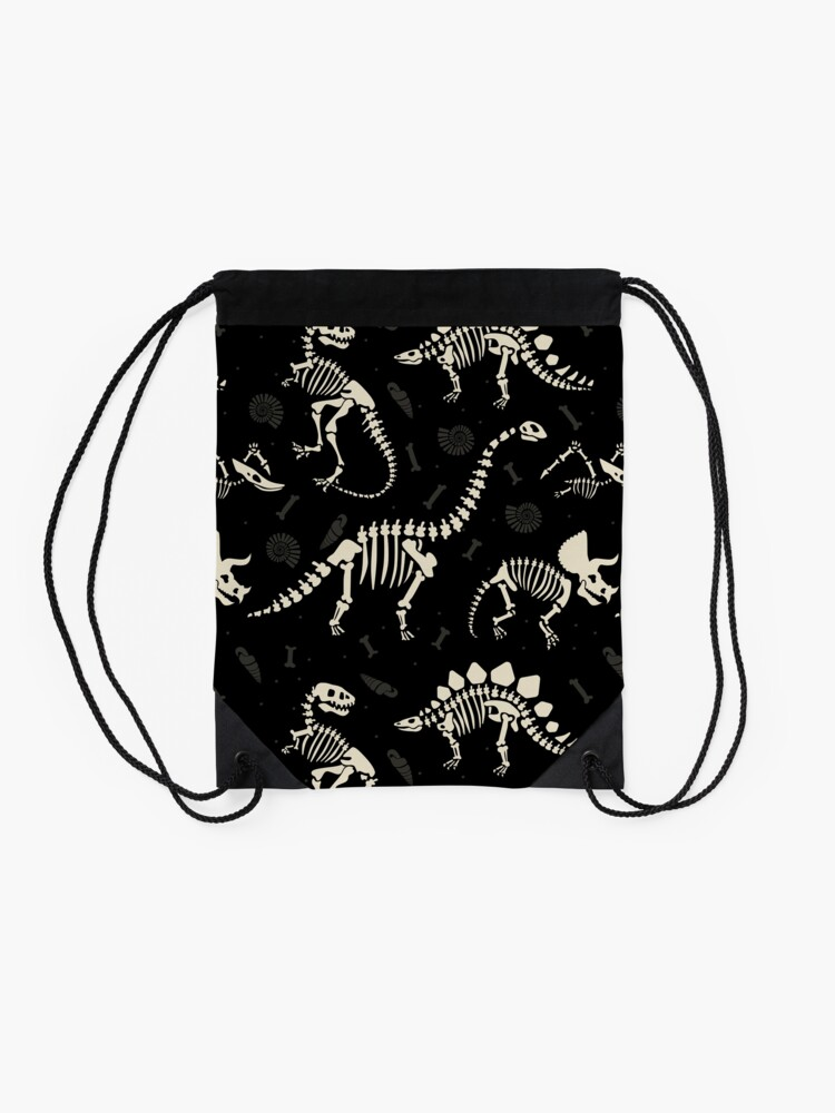 Alternate view of Dinosaur Fossils in Black Drawstring Bag