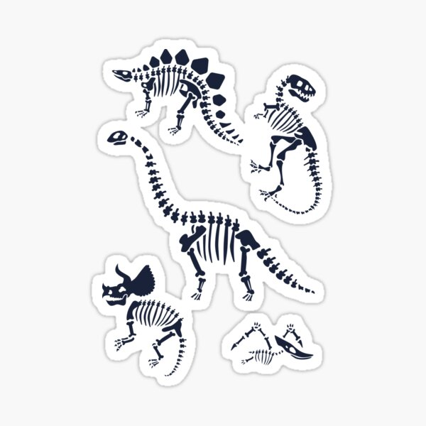 Dinosaur Fossils in Black Sticker