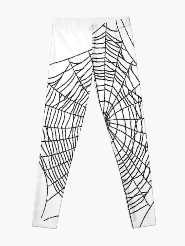 Alternate view of #illustration #chalkout #arachnid #web #pattern #outline #design #vector #webtogether #abstract #art #geometry #sunshade #shape #horizontal #whitecolor #blackandwhite #monochrome #bright #copyspace Leggings