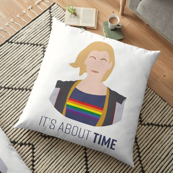 13th Doctor - It's About Time - Gay Pride Floor Pillow