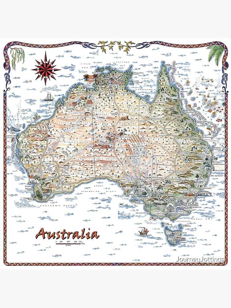 Australia Pictorial Decorative Map by JourneyJottings