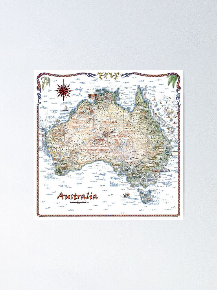 Alternate view of Australia Pictorial Decorative Map Poster