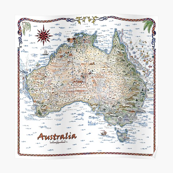 Australia Pictorial Decorative Map Poster