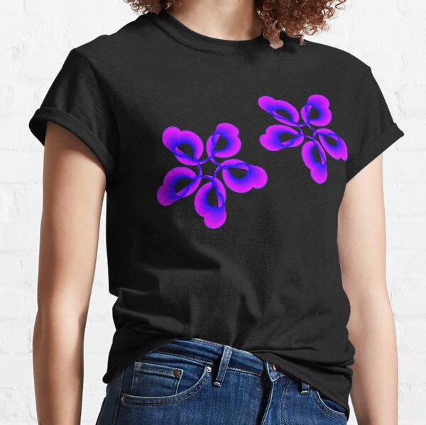 Spiral Pink Blue Abstract Flowers Classic T-Shirt