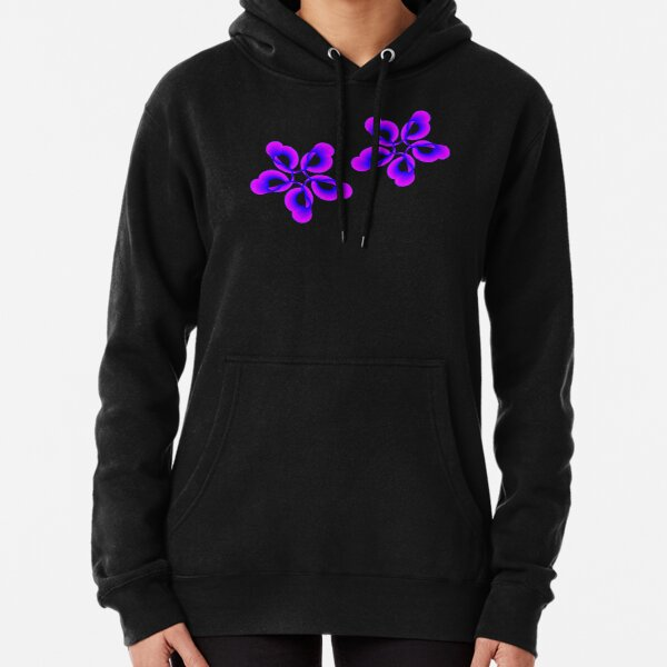 Spiral Pink Blue Abstract Flowers Pullover Hoodie