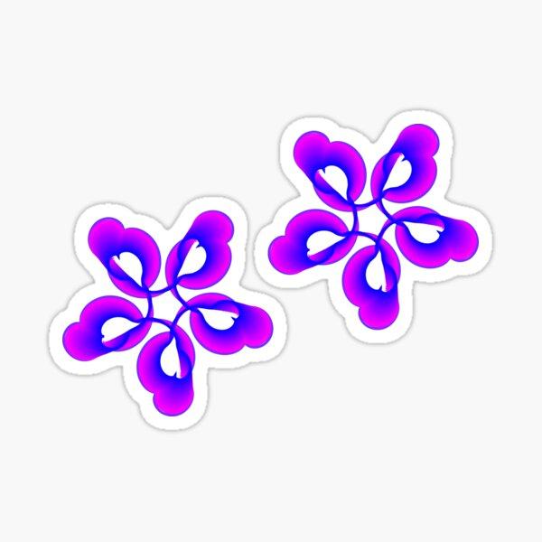 Spiral Pink Blue Abstract Flowers Sticker