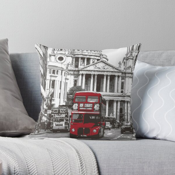 Red Double Decker Bus in London Throw Pillow