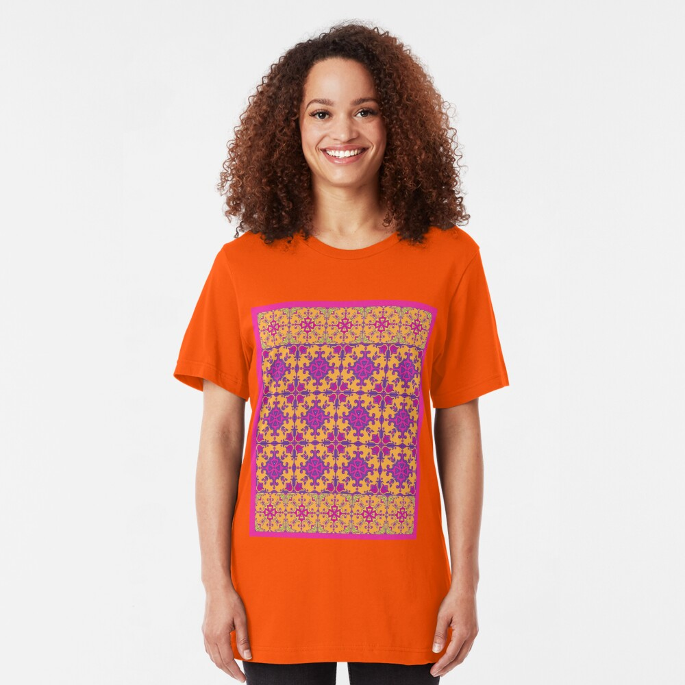 azulejo print - fuschia Slim Fit T-Shirt