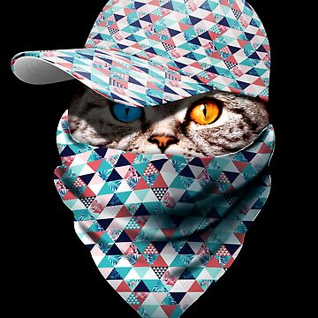 Cool Funny Gangster Cat with Exotic Cappi and Bandana by proeinstein