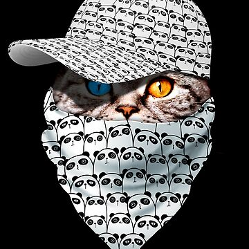 Cool Funny Gangster Cat with Panda Cappi and Bandana by proeinstein