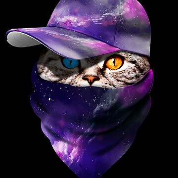 Cool Funny Gangster Cat with Violet Space Galaxy Cappi and Bandana by proeinstein