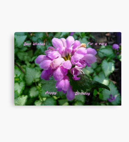 Happy Birthday ..Card, purple flower Canvas Print