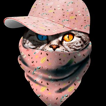 Cool Funny Gangster Cat with Boho  Feather Cappi and Bandana by proeinstein