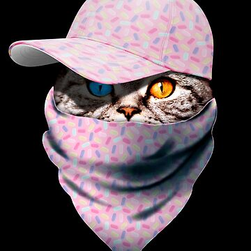 Cool Funny Gangster Cat with Candy Cappi and Bandana by proeinstein