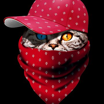 Cool Funny Gangster Cat with Christmas Cappi and Bandana by proeinstein
