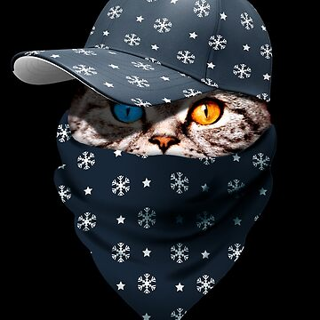 Cool Funny Gangster Cat with Christmas Snow Cappi and Bandana by proeinstein