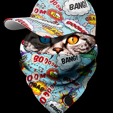 Cool Funny Gangster Cat with Comic Boom Bang Cappi and Bandana by proeinstein