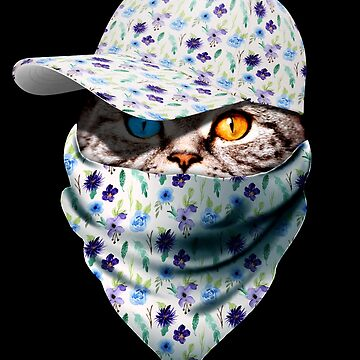 Cool Funny Gangster Cat with Floral Cappi and Bandana by proeinstein