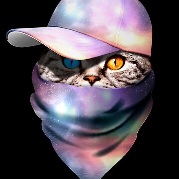Cool Funny Gangster Cat with Space Galaxy Cappi and Bandana by proeinstein