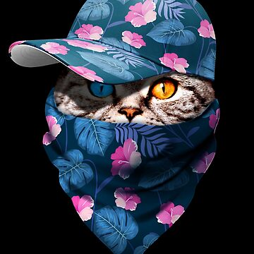 Cool Funny Gangster Cat with Tropical Flower Cappi and Bandana by proeinstein