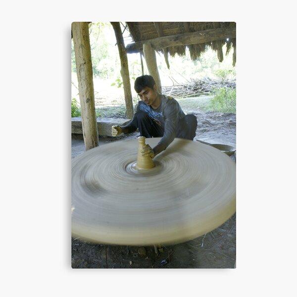 Nepalese potter in Bardia Metal Print