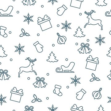Happy New Year 2019 and Christmas seamless pattern by aquamarine-p