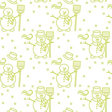 Seamless pattern with snowman, broom, hat, wind. by aquamarine-p