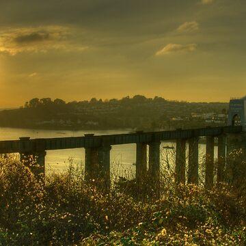 Brunel Bridge Sunset  by hawkie