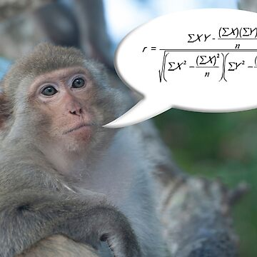 Macaque ape with speech bubble explaining  Pearson's correlation coefficient.  by funkyworm