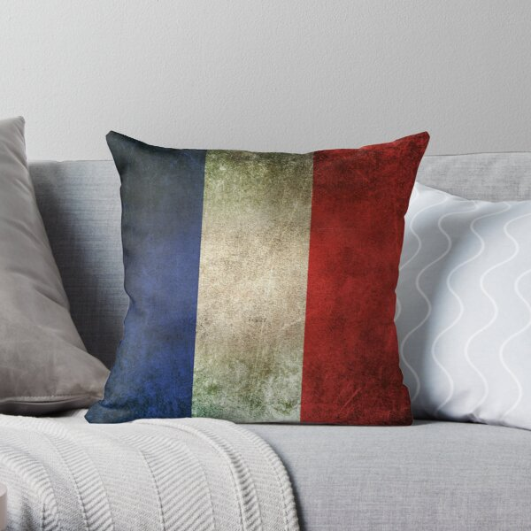 Old and Worn Distressed Vintage Flag of France Throw Pillow