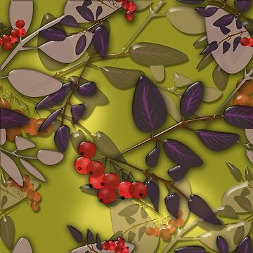 Seamless background pattern with colorful autumn leaves and rowanberry on green background glassy effect illustration by fuzzyfox