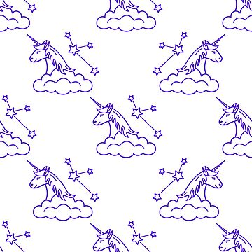 Pattern with magic unicorn, stars, clouds. by aquamarine-p