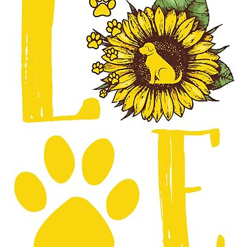 Sunflower Love Dog Paw Print Gift for Dog Mom T-Shirt by liuxy071195