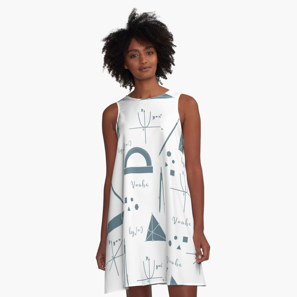 Mathematical scientific vector seamless pattern. A-Line Dress Front