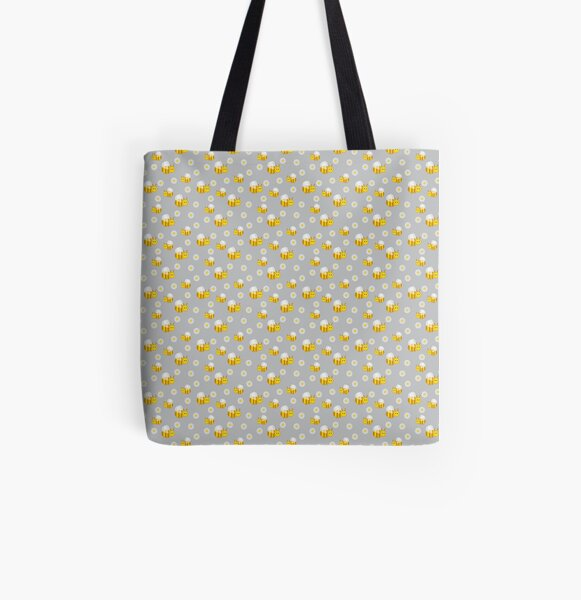 Bees and daisies All Over Print Tote Bag