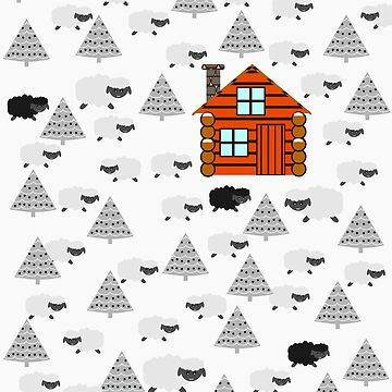 Winter cabin with sheep by cocodes