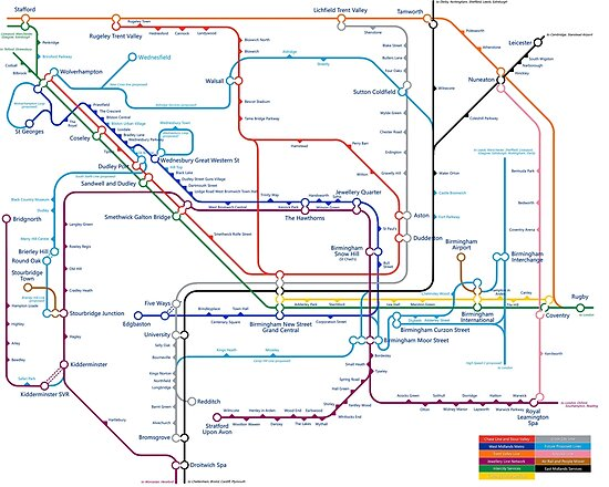 West Midlands Tube Map (centred on Wolverhampton) by danbadgeruk