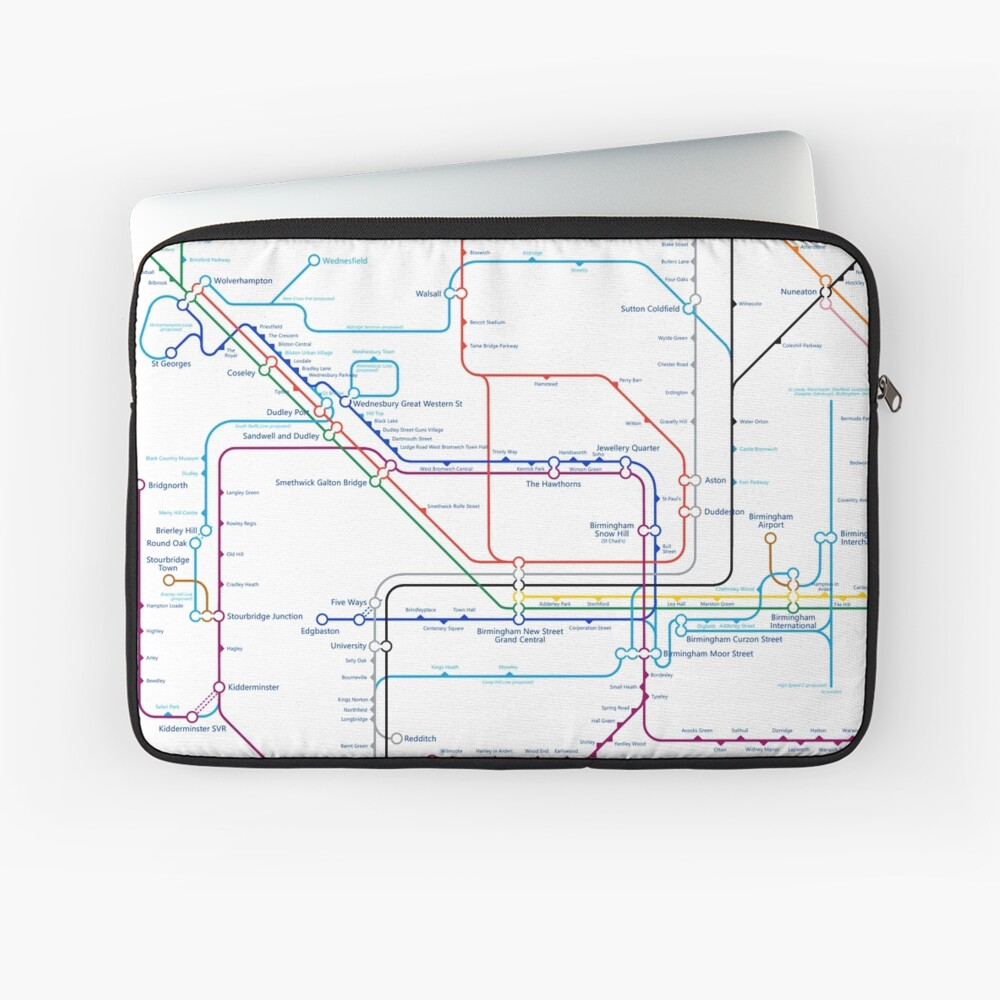 West Midlands Tube Map (centred on Wolverhampton) Laptop Sleeve