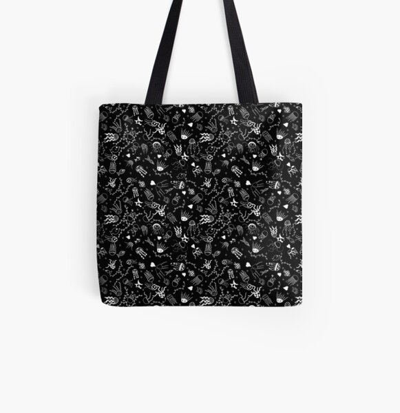 Jellyfish doodle black All Over Print Tote Bag