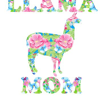 Llama Mom Floral Pattern by LarkDesigns