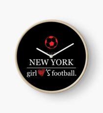 This New York Girl Loves Football T-shirt Clock
