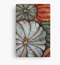 Autumn pumpkin and gourd watercolor painting Canvas Print
