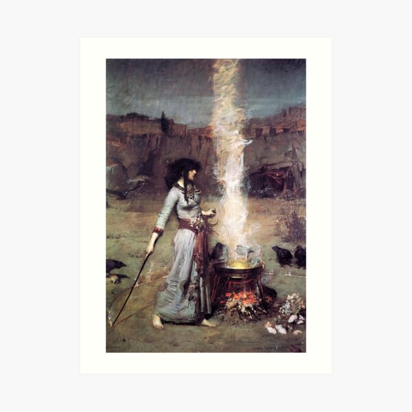 The Magic Circle. Witchcraft. John William Waterhouse. Art Print