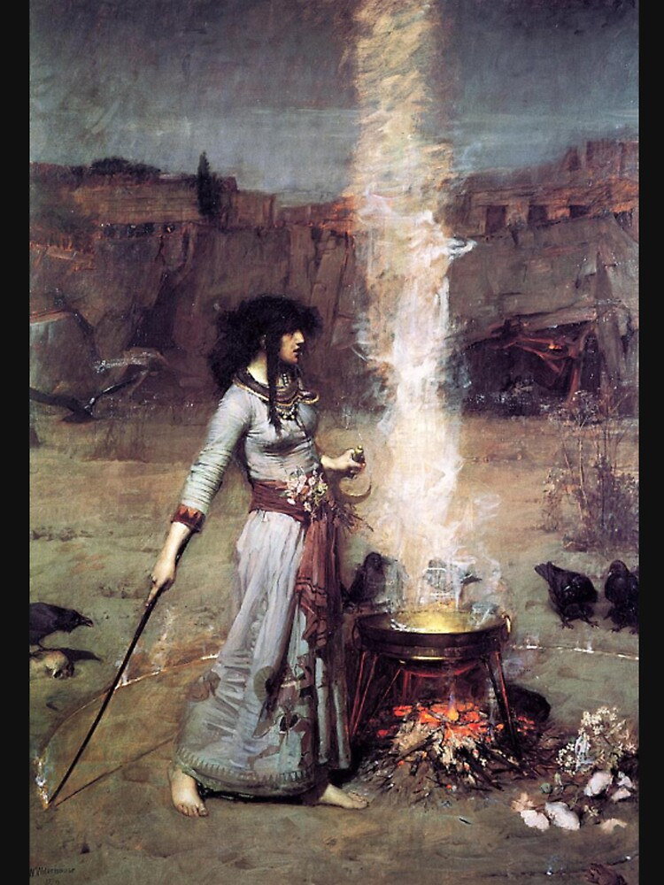 The Magic Circle, Witchcraft,  John William Waterhouse by TOMSREDBUBBLE
