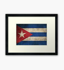 Old and Worn Distressed Vintage Flag of Cuba Framed Print