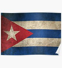Old and Worn Distressed Vintage Flag of Cuba Poster