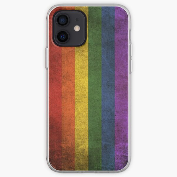 Old and Worn Distressed Vintage Gay Pride Rainbow Flag iPhone Soft Case