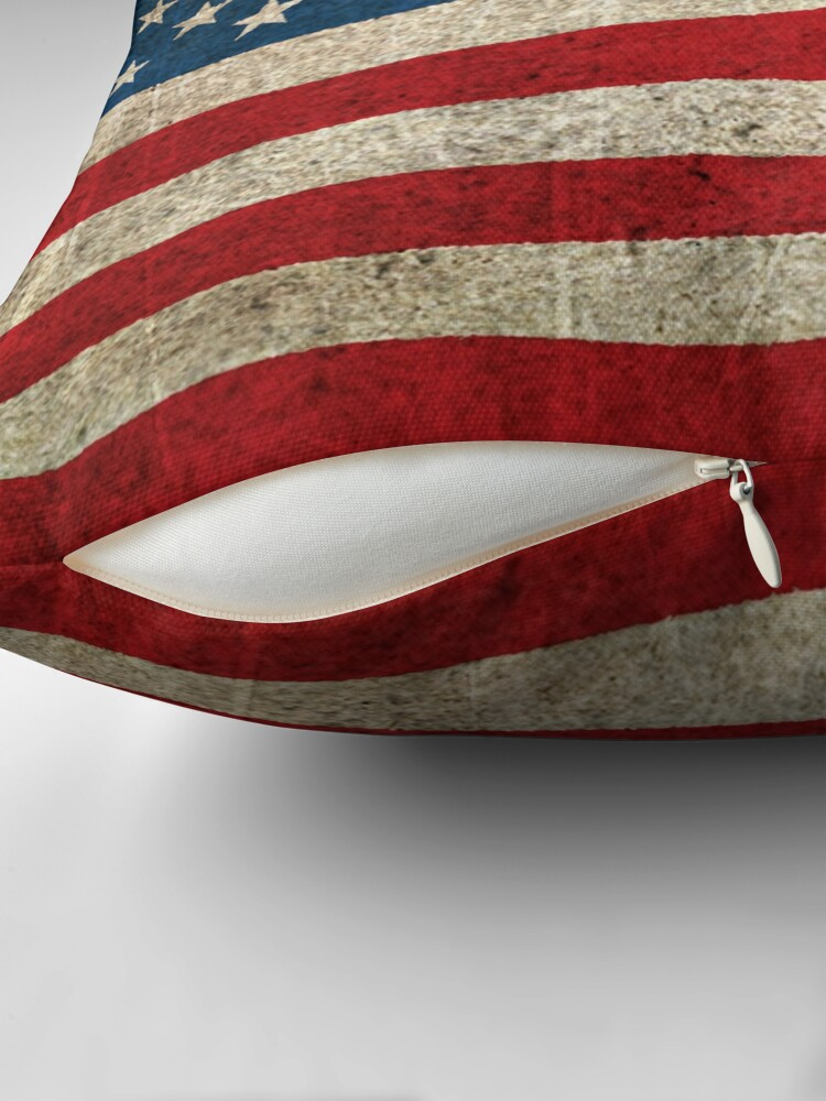 Alternate view of Old and Worn Distressed Vintage Flag of The United States Throw Pillow